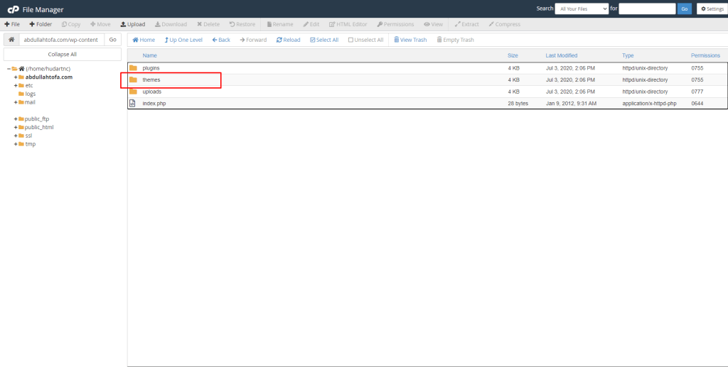 Themes Folder  in cPanel File Manager