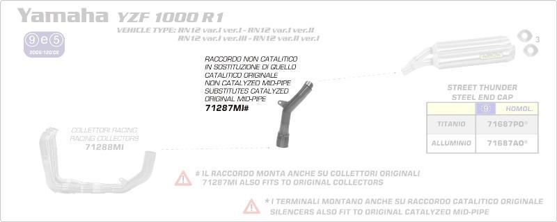 Kat Ersatzrohr No Kat Rohr Arrow Yamaha YZF 1000 R1 Bj