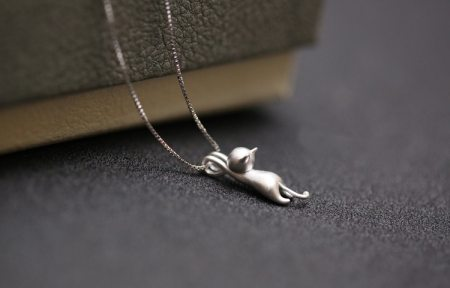 Cats Pendant & Necklace Pure Sterling Silver