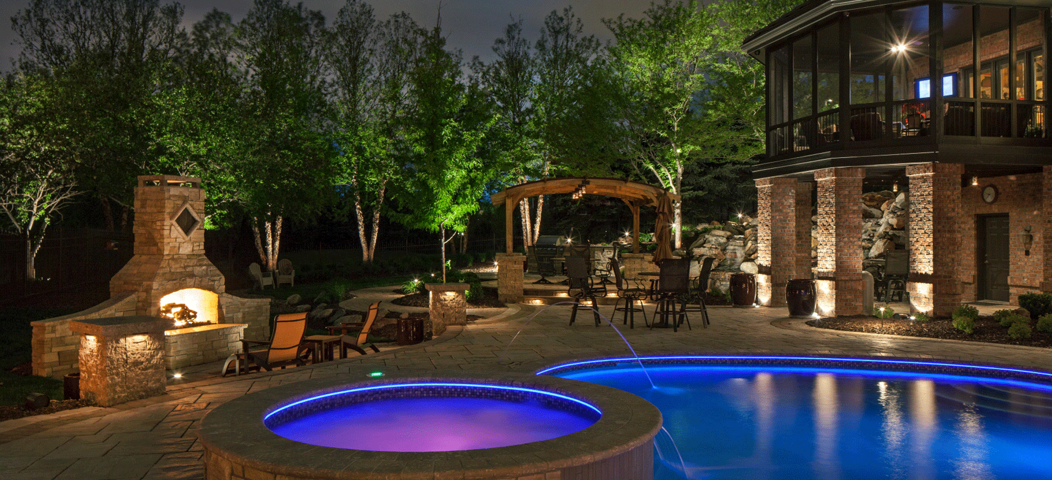 swimming pools fire places outdoor