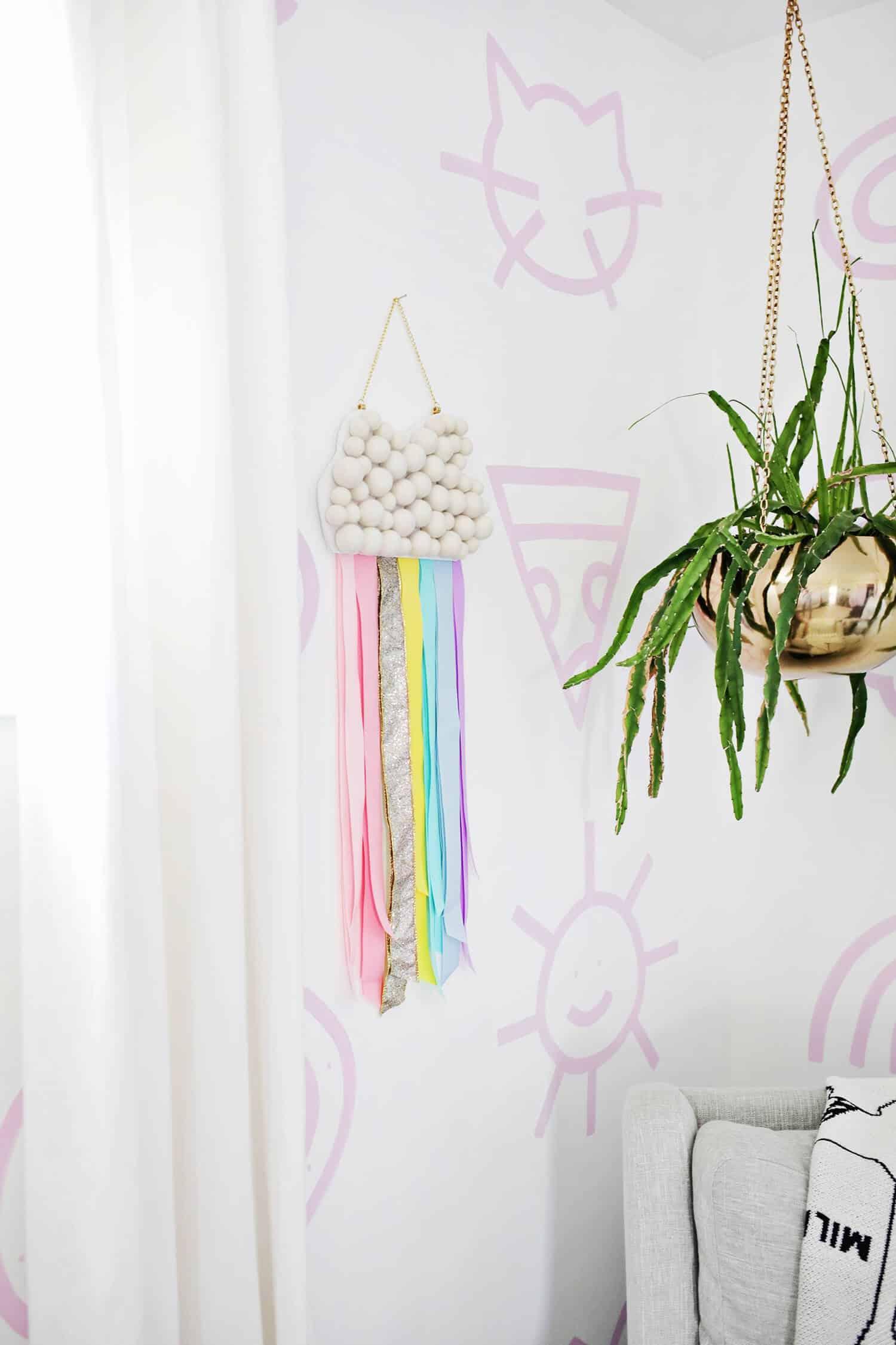 Kids Ribbon Rainbow Wall Hanging DIY  A Beautiful Mess