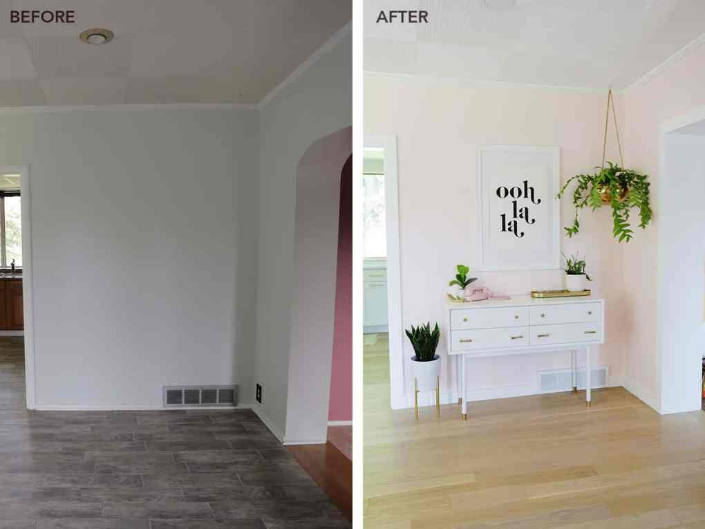 before and after view of entryway