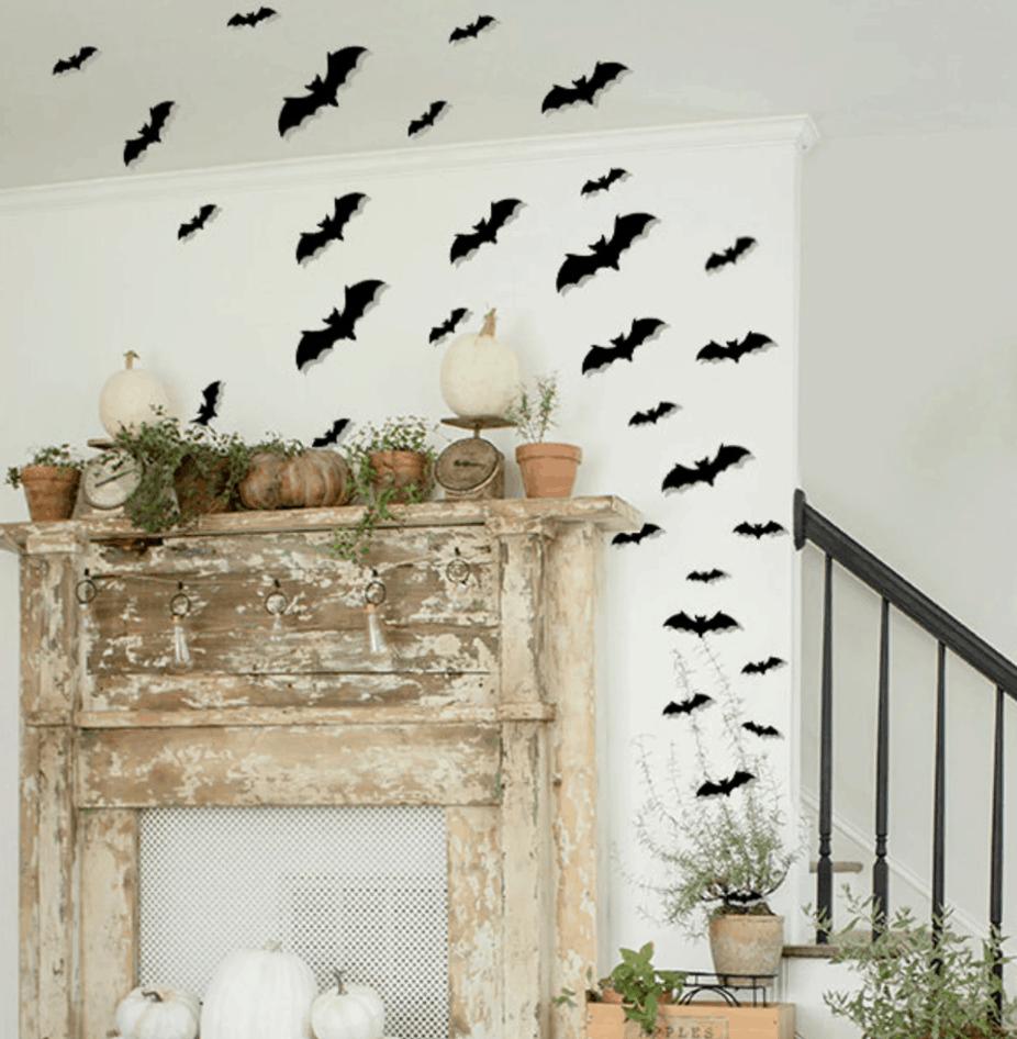 paper bats above a mantle