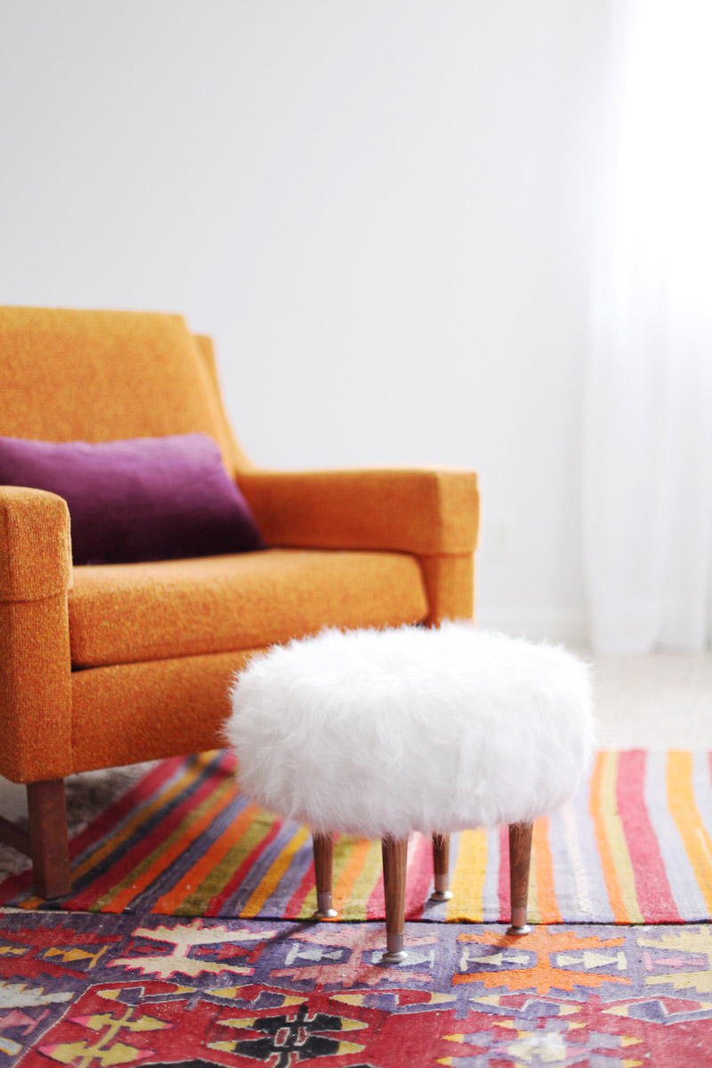 make your own faux fur footstool a beautiful mess