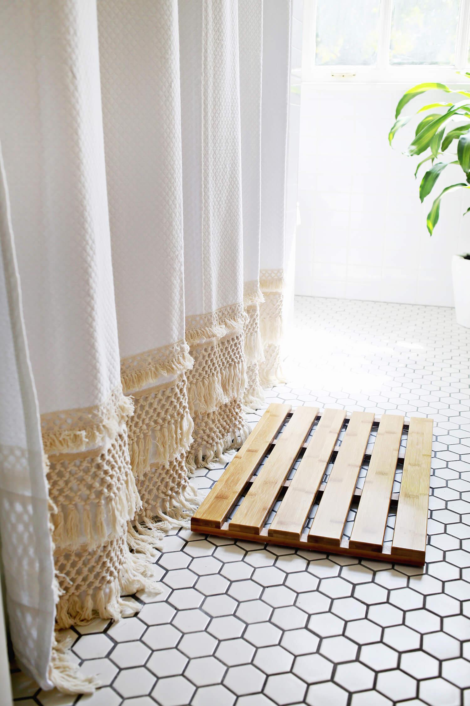 macrame shower curtain diy a