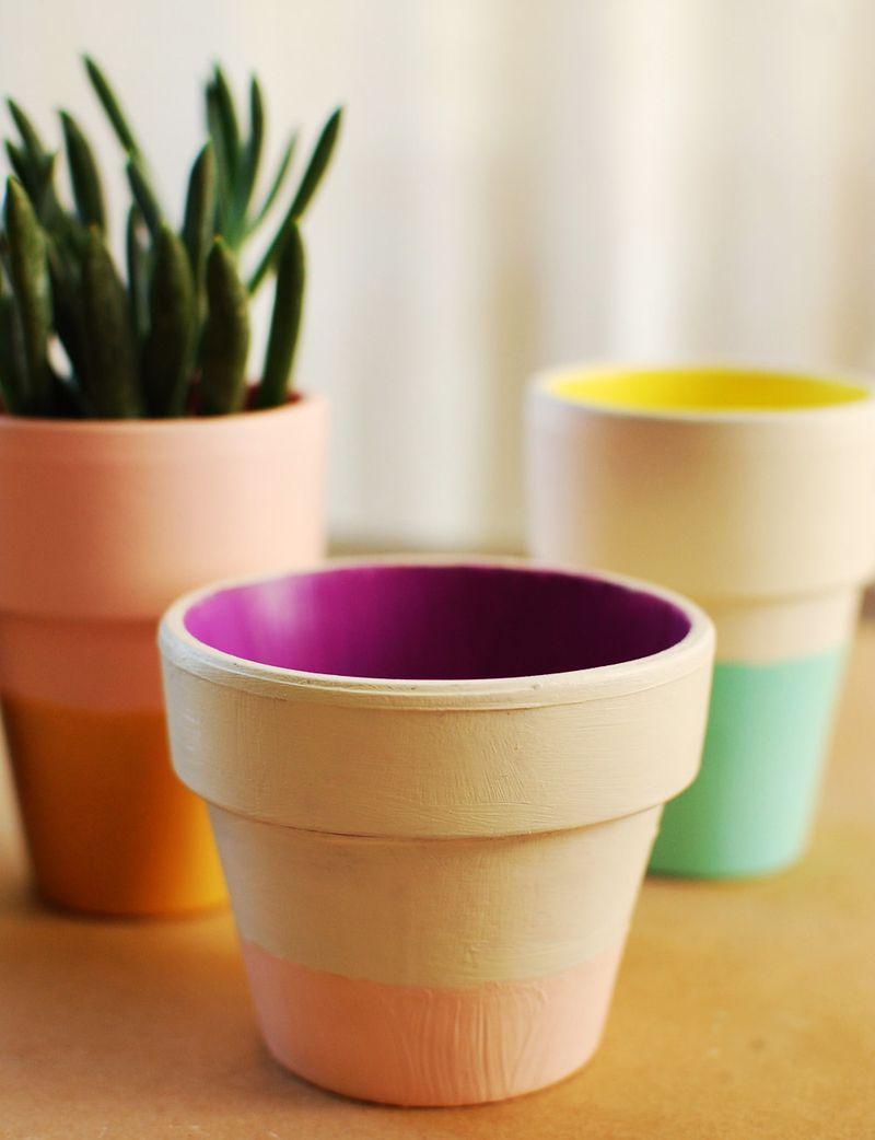 Color Block Terra Cotta Pots DIY – A Beautiful Mess
