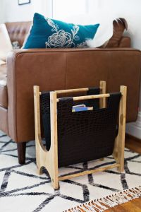 Wood + Leather Magazine Holder DIY - A Beautiful Mess