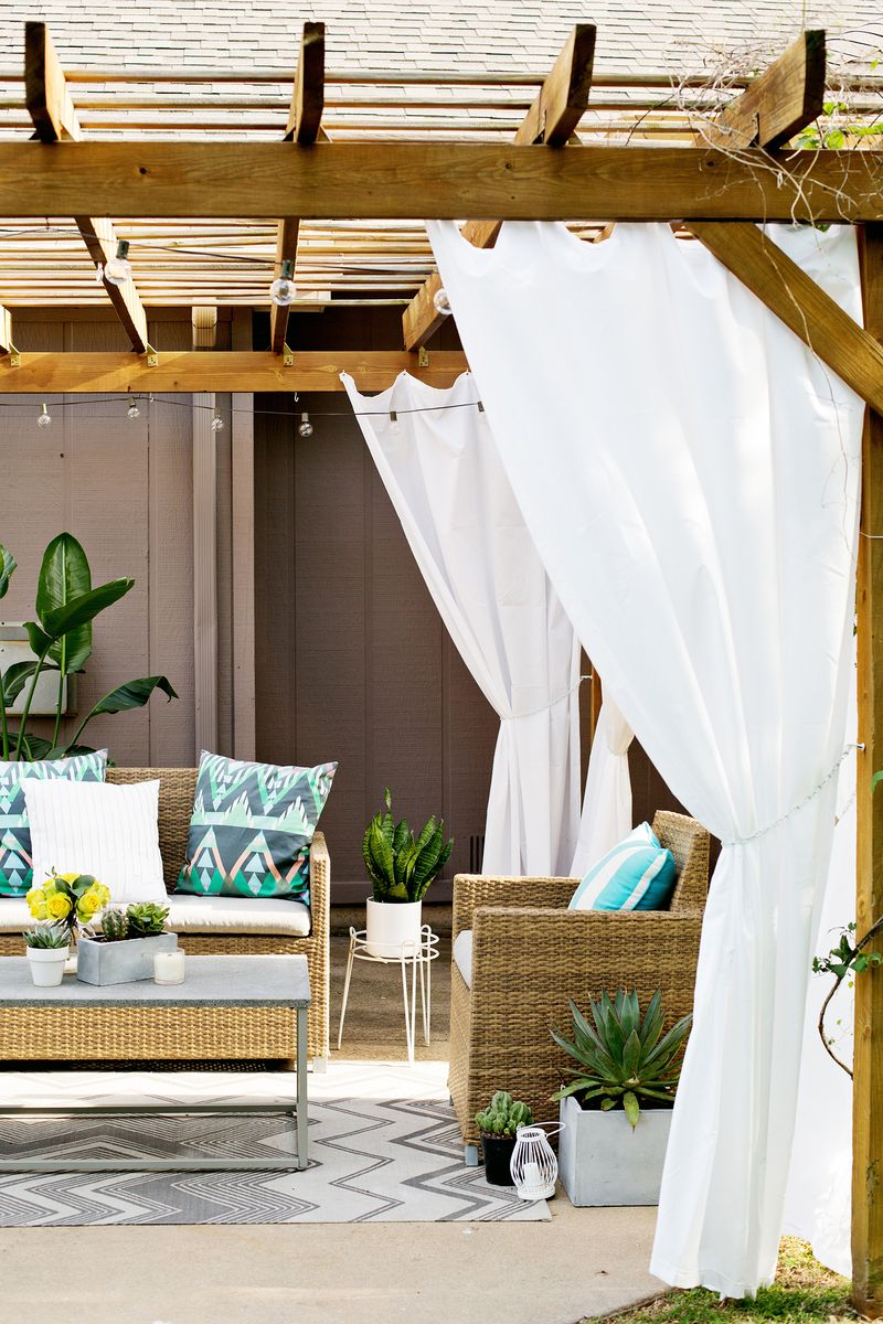 Make Your Own Outdoor Pergola Curtains  A Beautiful Mess