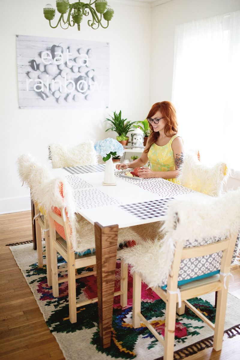 How To Make Dining Room Chair Covers Diy Faux Fur Chair Covers And Cushions A Beautiful Mess