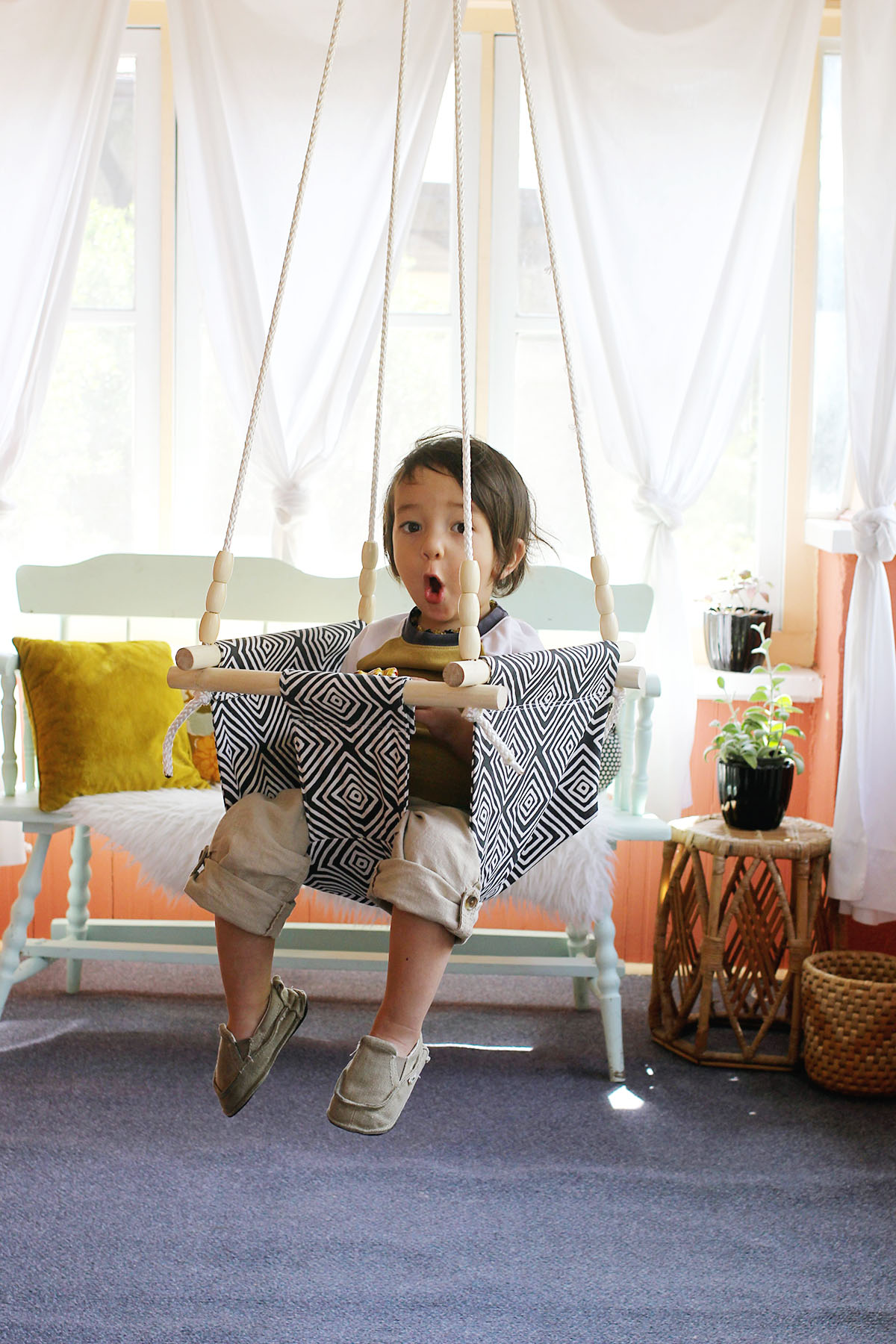 hanging chair for baby white accent chairs under 100 and toddler swing diy a beautiful mess