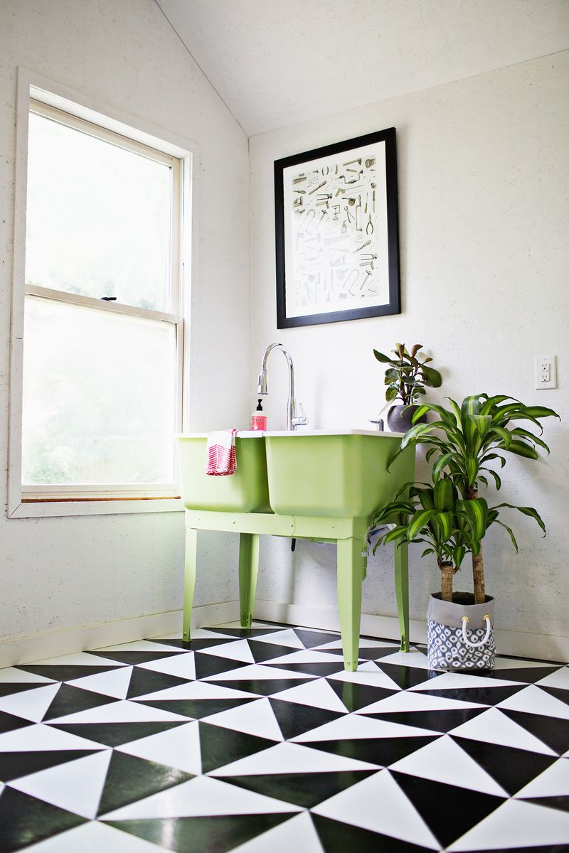 Make A Patterned Floor With Linoleum Tile  A Beautiful Mess