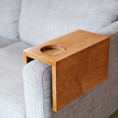 How To Make Armrest Covers For Sofas Red Sofa Design Living Room Wooden Sleeve With Cup Holder - A Beautiful Mess