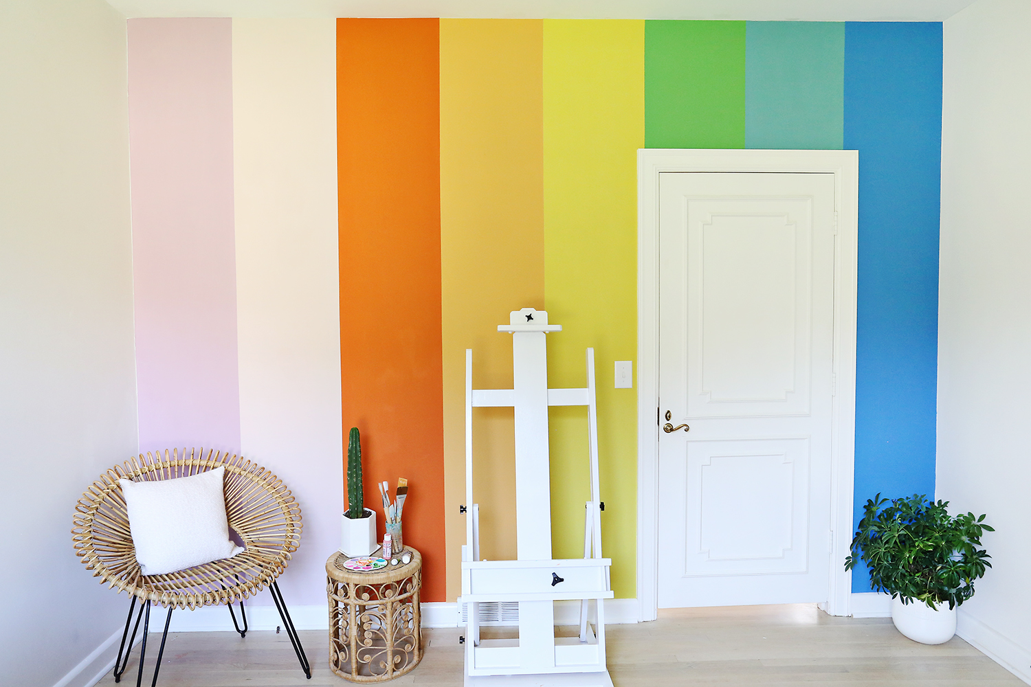 DIY Rainbow Accent Wall A Beautiful Mess