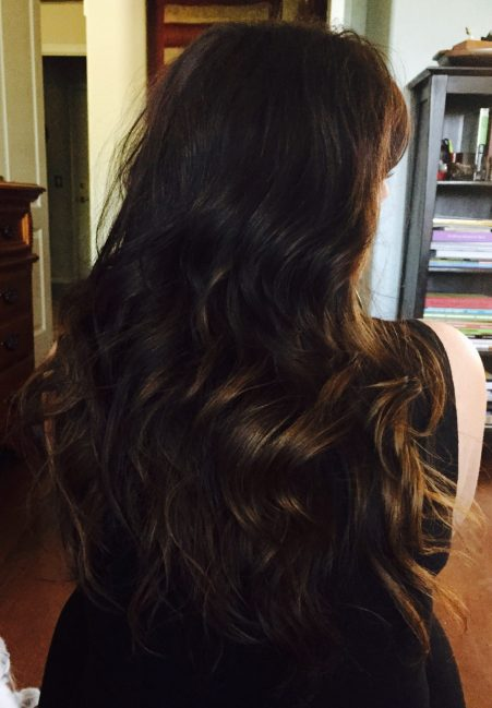 Long layered balyage brown hair