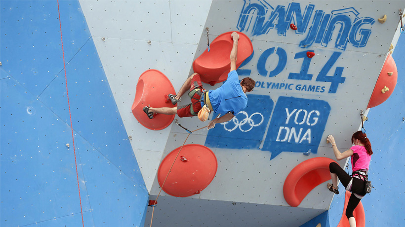Primeira participação da escalada em um evento Olímpico, em Nanjing 2014, nos Jogos Olímpicos da Juventude