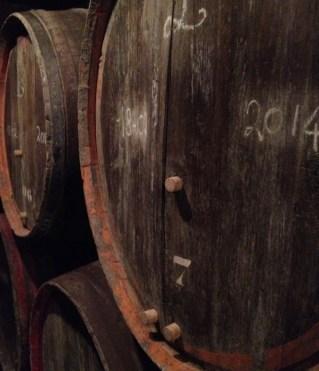 Ancient chestnut wood barrels at Oud Beersel