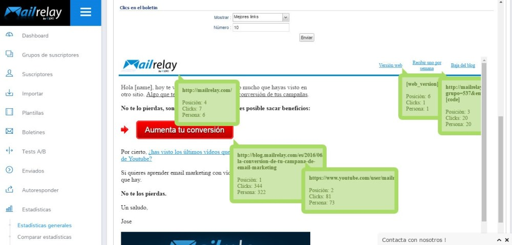 Mailrelay - Estadísticas enlaces
