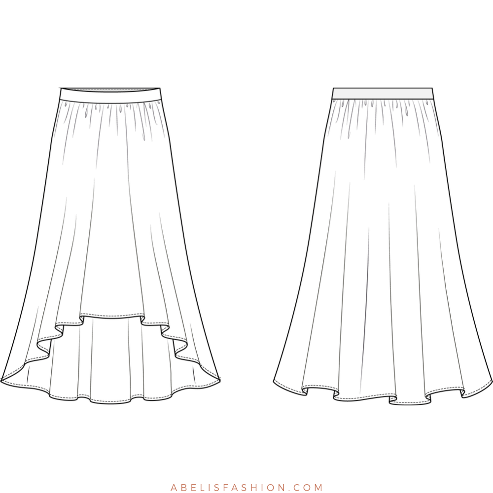 High Low Skirt Pattern For Women Abelis Sewing Pattern