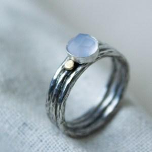 light blue handmade stacking ring