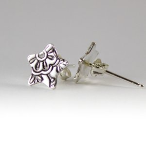 Floral patterned Silver Star Stud Earrings by Abella Blue