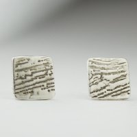 Square woodgrain post earring