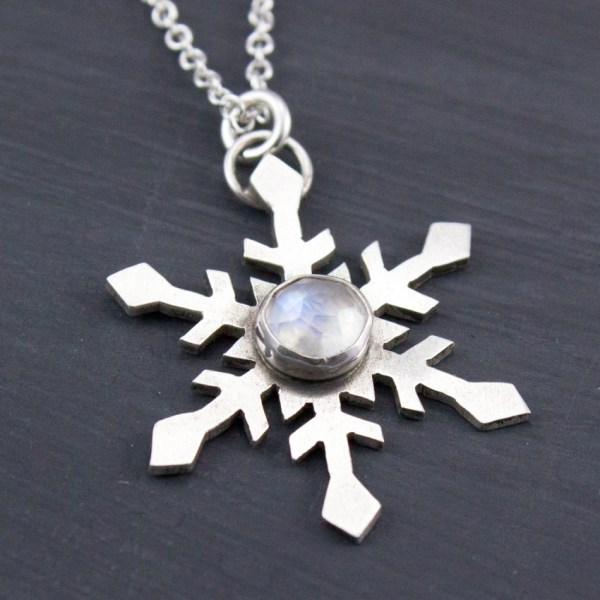 handmade moonstone snowflake necklace