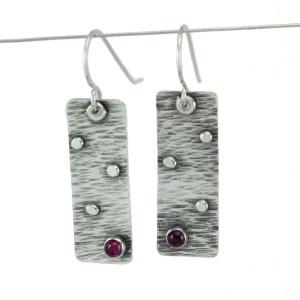 Textured pink tourmaline earrings