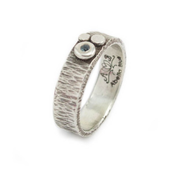 Silver Textured Ring London Blue Topaz