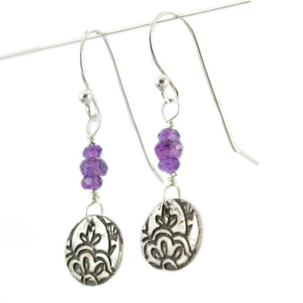 Amethyst Lotus flower Dangle Earrings