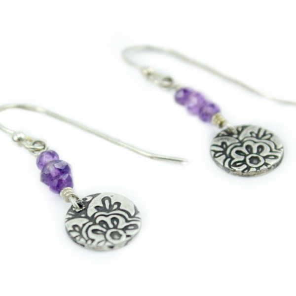 Lotus dangle earrings with amethyst