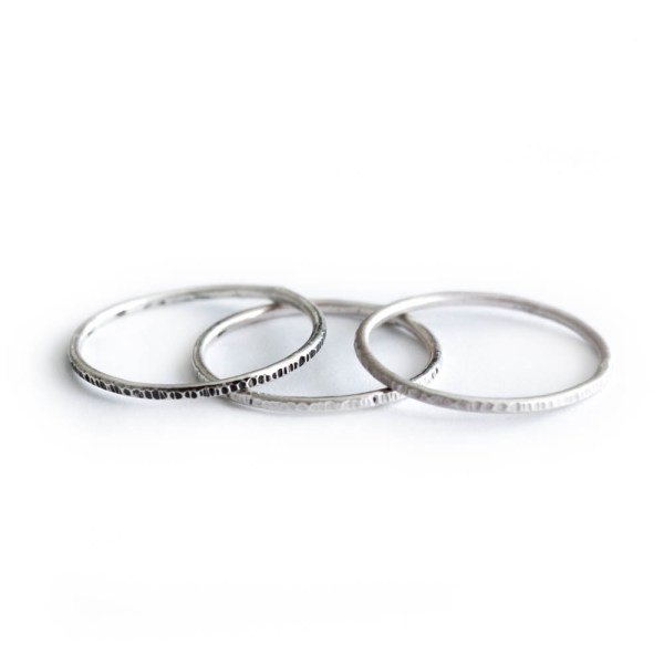 Thin Silver Stacking Rings