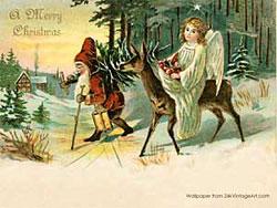 Et af de søde postkort hvor julemanden og Christkindl samarbejder.