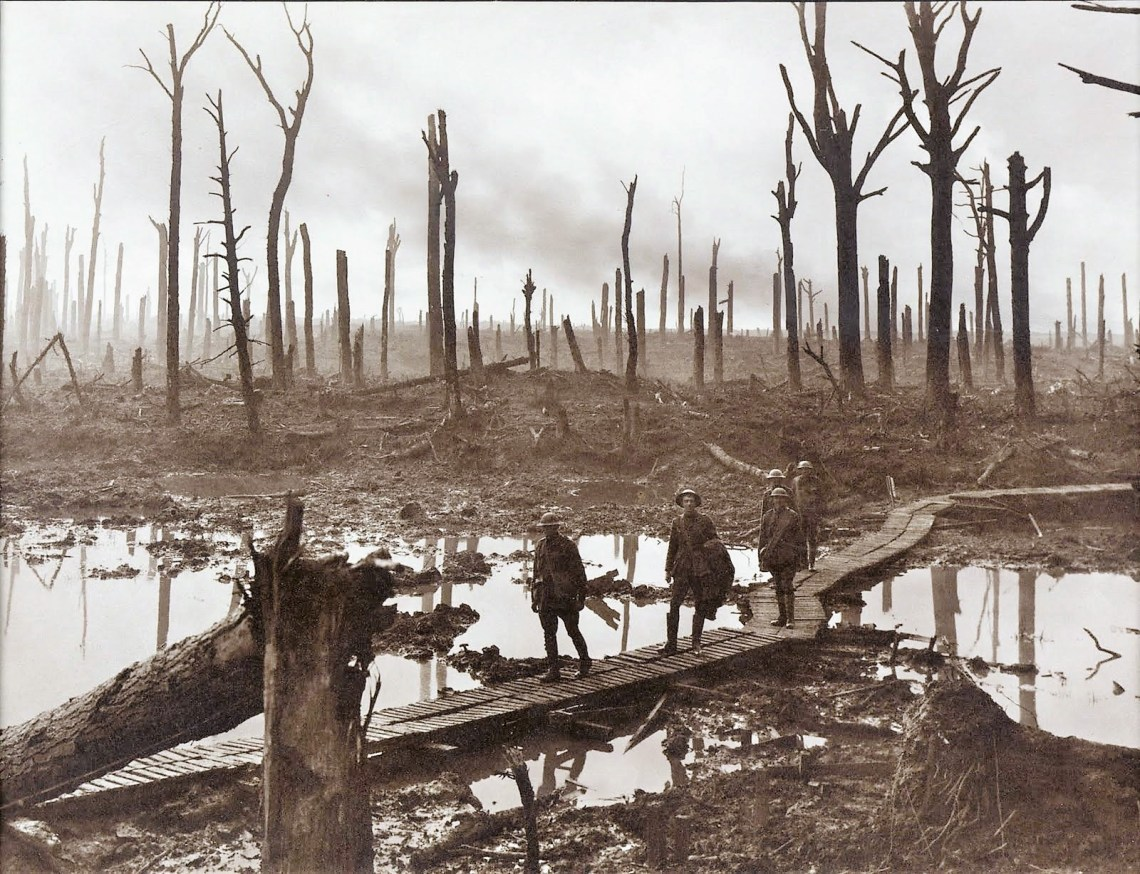 One of many iconic images of the Passchendaele battlefield in 1917