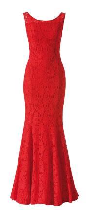 Rotes Spitzenkleid, langes Abendkleid von Minx