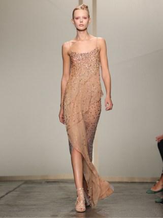Donna Karan Abendkleid nude glitzernd