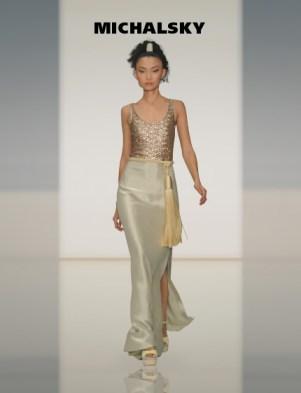 MICHALSKY - schlichtes Abendkleid in Off-White/Gold