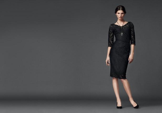 Schlichtes Abendkleid Spitze schwarz, D & G 2014