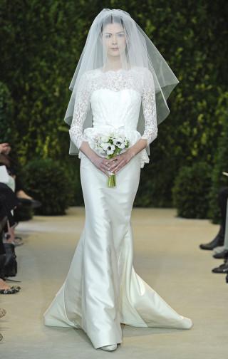 Hochzeitskleid langarm mit Spitzenärmeln, Carolina Herrera