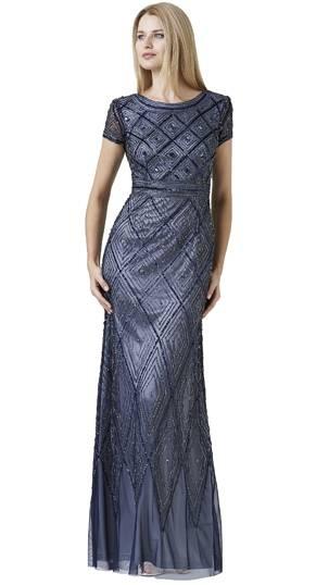 Abendkleider silber lang, Adrianna Papell