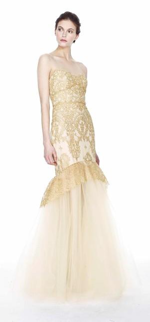 Fishtail Abendkleid gold - Marchesa Notte 2014
