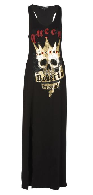 langes schwarze Kleid mit goldenem Totenkopf mit Krone