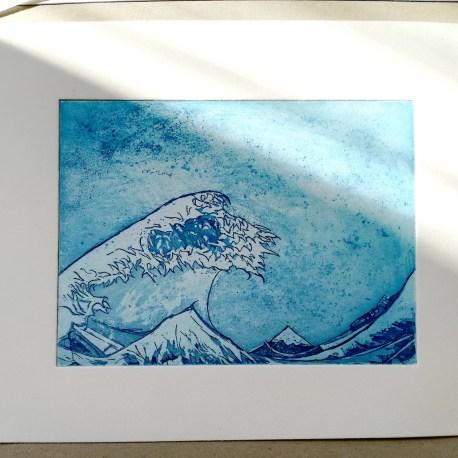 Tirage de la tempête en hommage à Hokusai