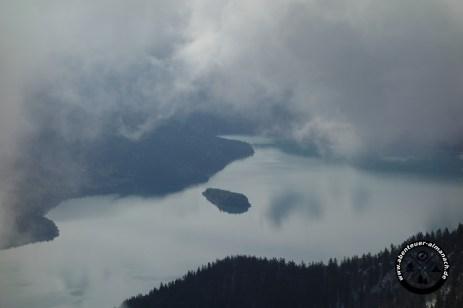 Walchensee mit Insel Sassau