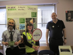 """UNISON activists at Woodhill House say, """"You're worth it!"""""""
