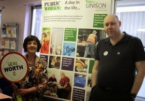 "UNISON activists at Gordon House tell staff ""You're worth it!"""