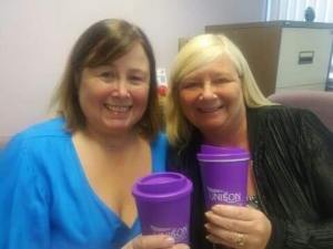 Susie Kenneday and Karen Davidson with their reusable cups
