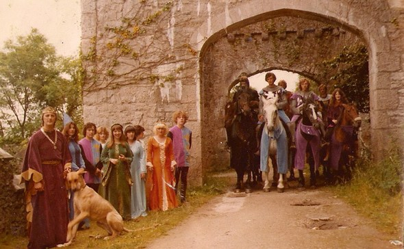Karen Linley and the cast of Gwrych Castle Jousters and Banqueting team from late 1970s to early 1980s
