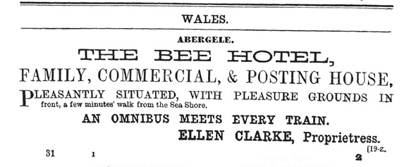 Bee Hotel Abergele advertisement in Bradshaw's Tourist Handbook of 1860s