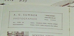 Advert for Mr Sumner's Photography from an old map of Abergele.