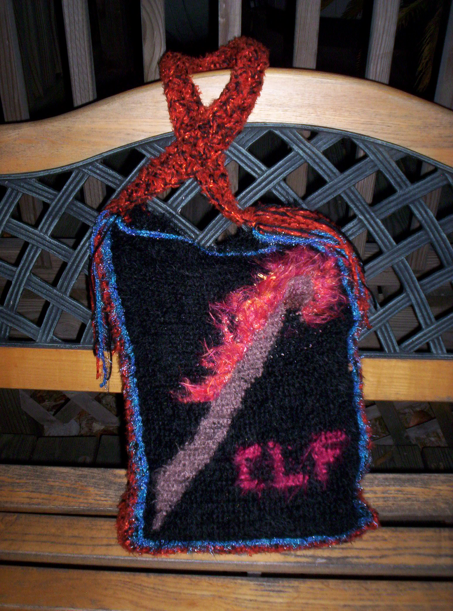 "Project Bag sporting my ""Flaming Crochet Hook"" tapestry Crochet Design"